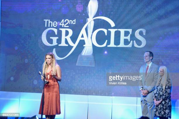 Honoree Rachel Platten accepts the Impact Award onstage during the 42nd Annual Gracie Awards hosted by The Alliance for Women in Media at the Beverly...