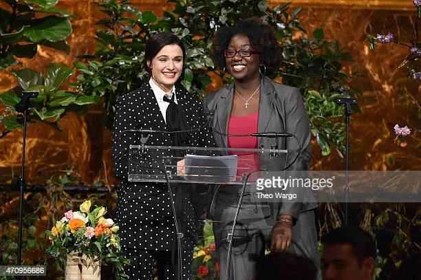 Honoree Rachel Weisz and Keli Young of The Opportunity Network appear onstage at Variety's Power of Women New York presented by Lifetime at Cipriani...