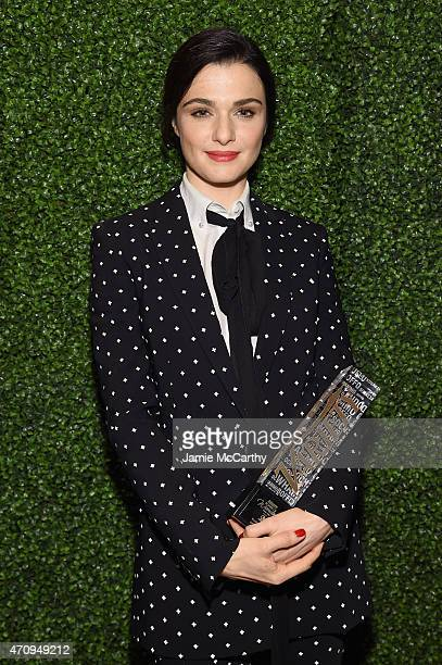 Honoree Rachel Weisz poses backstage at Variety's Power of Women New York presented by Lifetime at Cipriani 42nd Street on April 24 2015 in New York...