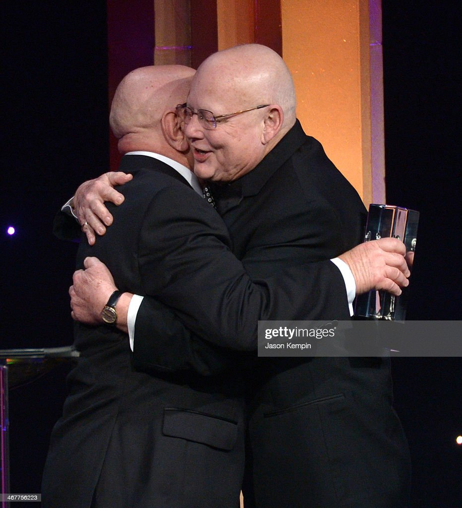 Honoree Randy Roberts accepts award from presenter Alan Heim onstage at the 64th Annual ACE Eddie Awards at Paramount Studios on February 7 2014 in...