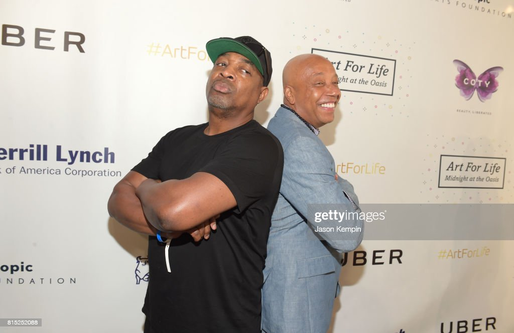 Honoree, rapper Chuck D and Founder, RUSH Philanthropic Arts Foundation Russell Simmons attend 'Midnight At The Oasis' Annual Art For Life Benefit hosted by Russell Simmons' Rush Philanthropic Arts Foundation at Fairview Farms on July 15, 2017 in Water Mill, New York.