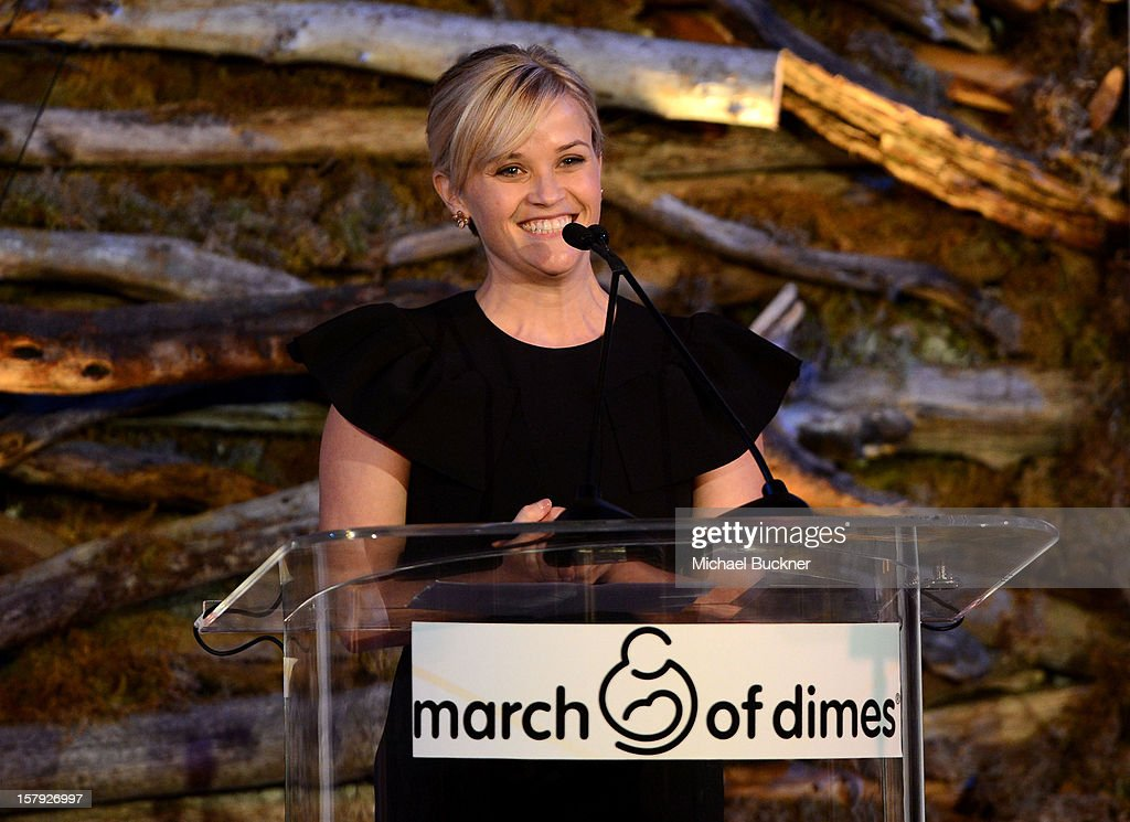 Honoree Reese Witherspoon accepts the Grace Kelly Award onstage during the 7th Annual March of Dimes Celebration of Babies, a Hollywood Luncheon, at the Beverly Hills Hotel on December 7, 2012 in Beverly Hills, California.