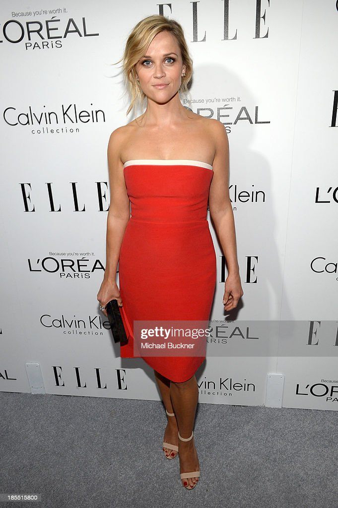 Honoree <a gi-track='captionPersonalityLinkClicked' href=/galleries/search?phrase=Reese+Witherspoon&family=editorial&specificpeople=201577 ng-click='$event.stopPropagation()'>Reese Witherspoon</a> attends ELLE's 20th Annual Women In Hollywood Celebration at Four Seasons Hotel Los Angeles at Beverly Hills on October 21, 2013 in Beverly Hills, California.
