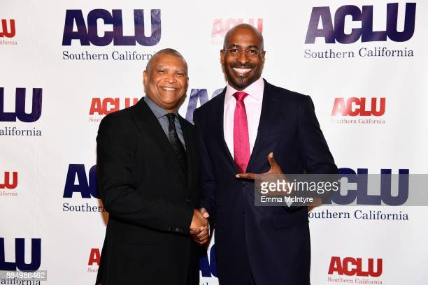 Honoree Reginald Hudlin and Van Jones attend ACLU SoCal Hosts Annual Bill of Rights Dinner at the Beverly Wilshire Four Seasons Hotel on December 3...