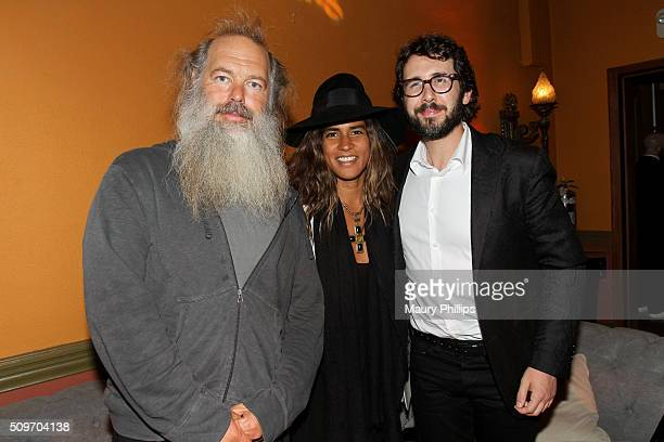 Honoree Rick Rubin Mourielle Herrera and recording artist Josh Groban pose during the PE Wing Event honoring Rick Rubin at The Villiage Studios on...