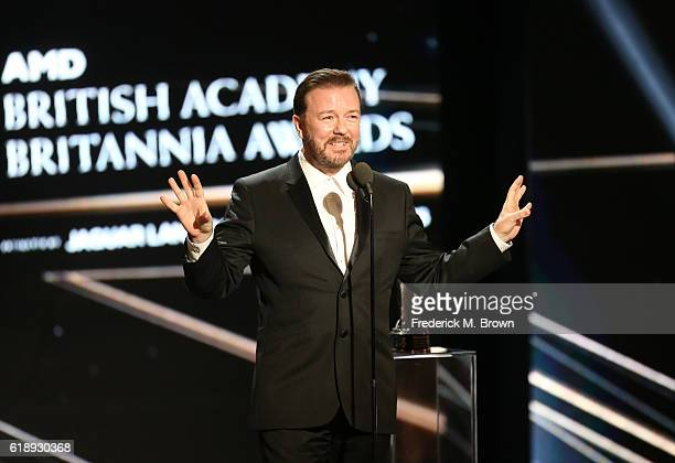 Honoree Ricky Gervais accepts the Charlie Chaplin Britannia Award for Excellence in Comedy onstage during the 2016 AMD British Academy Britannia...