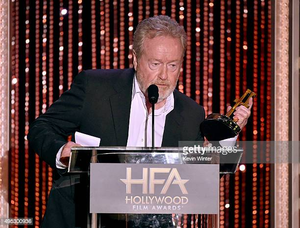 "Honoree Ridley Scott accepts the Hollywood Producer Award for ""The Martian"" onstage during the 19th Annual Hollywood Film Awards at The Beverly..."