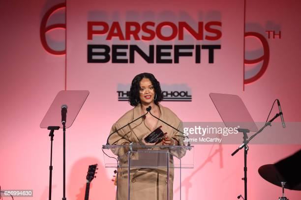 Honoree Rihanna makes acceptance remarks on stage during the 69th Annual Parsons Benefit at Pier 60 on May 22 2017 in New York City