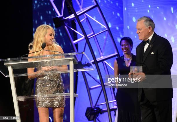 Honoree Riley Biederer and Georgia Governor Nathan Deal at the 34th Annual Georgia Music Hall of Fame Awards Concert and Show at Cobb Energy...