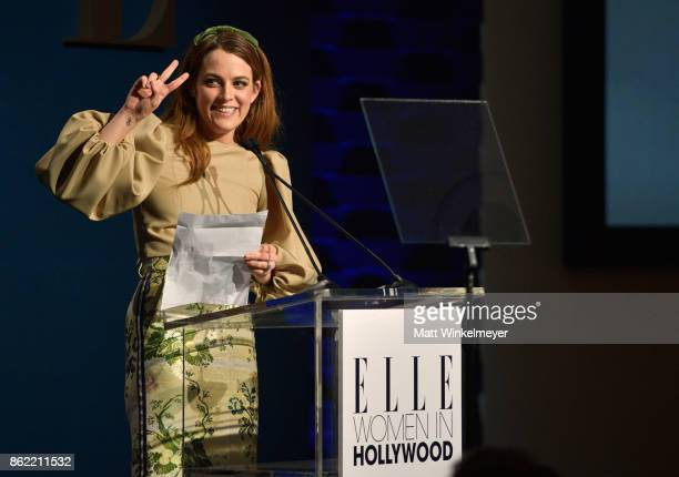 Honoree Riley Keough accepts award onstage at ELLE's 24th Annual Women in Hollywood Celebration presented by L'Oreal Paris Real Is Rare Real Is A...