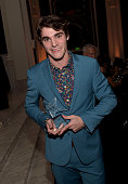 Honoree RJ Mitte poses with the Starbright World Inspiration Award at the 2014 Starlight Awards at Vibiana on October 23 2014 in Los Angeles...