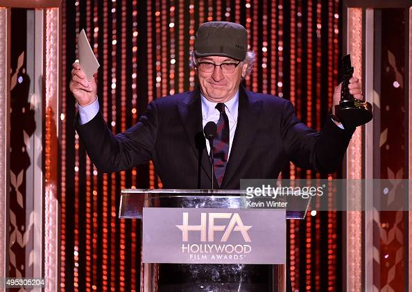 Honoree Robert De Niro accepts the Hollywood Career Achievement Award onstage during the 19th Annual Hollywood Film Awards at The Beverly Hilton...