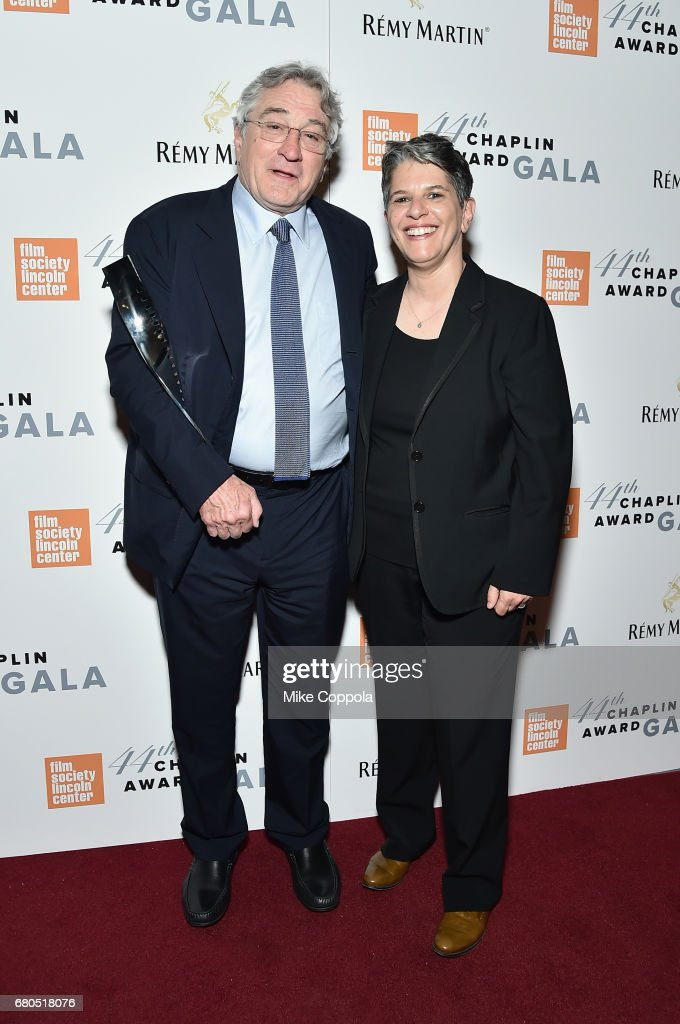 Honoree Robert De Niro (L) and FSLC Executive Director Lesli Klainberg backstage during the 44th Chaplin Award Gala at David H. Koch Theater at Lincoln Center on May 8, 2017 in New York City.