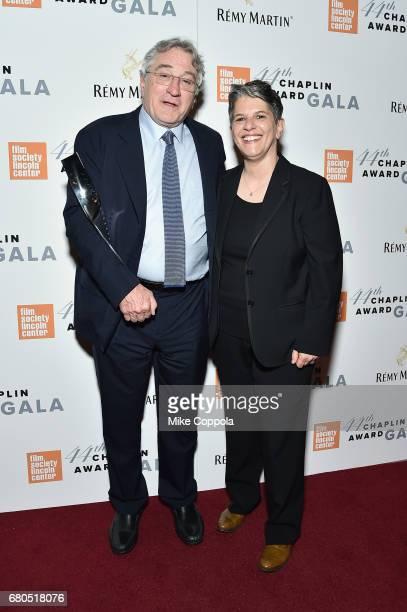 Honoree Robert De Niro and FSLC Executive Director Lesli Klainberg backstage during the 44th Chaplin Award Gala at David H Koch Theater at Lincoln...