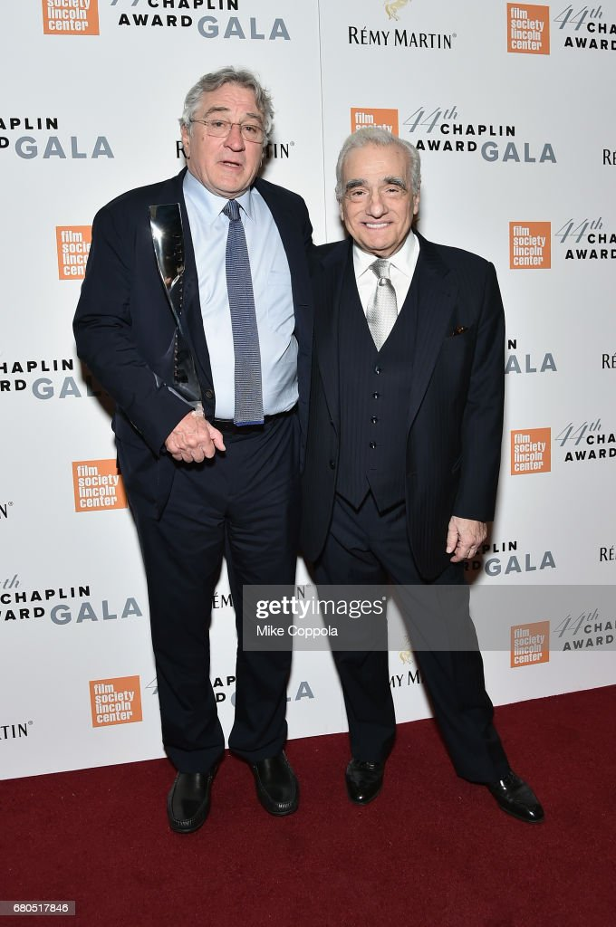 Honoree Robert De Niro (L) and Martin Scorsese backstage during the 44th Chaplin Award Gala at David H. Koch Theater at Lincoln Center on May 8, 2017 in New York City.
