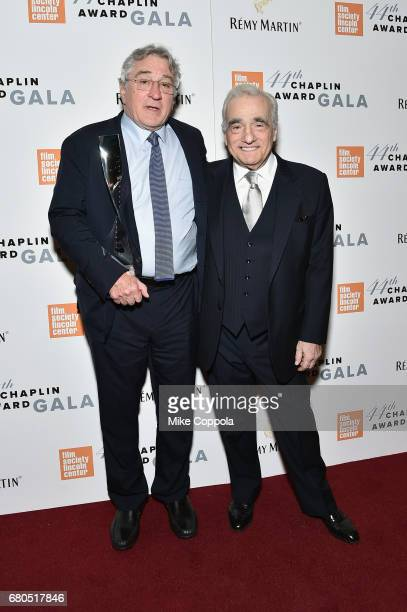 Honoree Robert De Niro and Martin Scorsese backstage during the 44th Chaplin Award Gala at David H Koch Theater at Lincoln Center on May 8 2017 in...