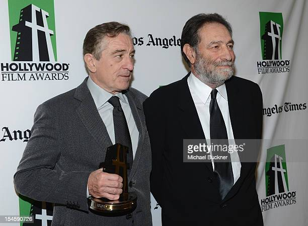 Honoree Robert De Niro and screenwriter Eric Roth pose with the Hollywood Supporting Actor Award backstage at the 16th Annual Hollywood Film Awards...