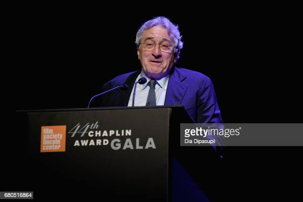 Honoree Robert De Niro speaks onstage during the 44th Chaplin Award Gala at David H Koch Theater at Lincoln Center on May 8 2017 in New York City