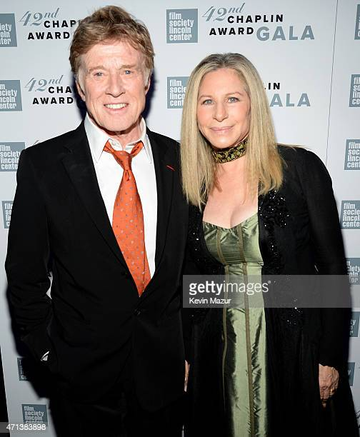 Honoree Robert Redford and Barbra Streisand attends the 42nd Chaplin Award Gala at Alice Tully Hall Lincoln Center on April 27 2015 in New York City