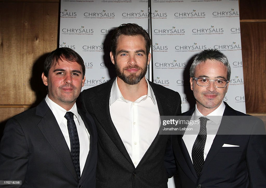 Honoree Roberto Orci, actor Chris Pine, and honoree Alex Kurtzman attend the 12th Annual Chrysalis Butterfly Ball on June 8, 2013 in Los Angeles, California.