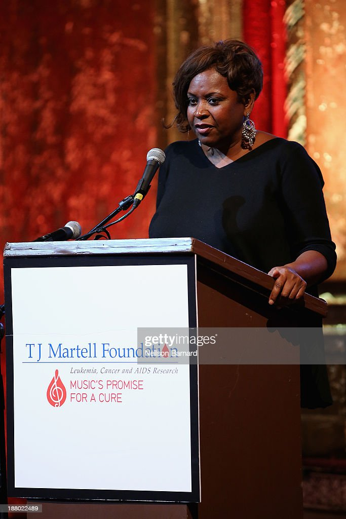 Honoree <a gi-track='captionPersonalityLinkClicked' href=/galleries/search?phrase=Robin+Quivers&family=editorial&specificpeople=665053 ng-click='$event.stopPropagation()'>Robin Quivers</a> speaks onstage at T.J. Martell Foundation's Annual World Tour of Wine Dinner at The Angel Orensanz Foundation on November 14, 2013 in New York City.