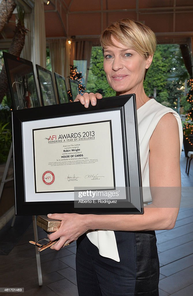 Honoree <a gi-track='captionPersonalityLinkClicked' href=/galleries/search?phrase=Robin+Wright&family=editorial&specificpeople=207147 ng-click='$event.stopPropagation()'>Robin Wright</a> attends the 14th annual AFI Awards Luncheon at the Four Seasons Hotel Beverly Hills on January 10, 2014 in Beverly Hills, California.