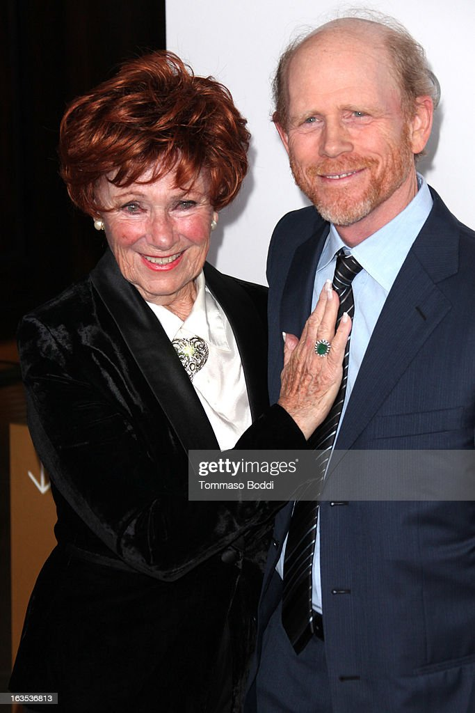 Honoree <a gi-track='captionPersonalityLinkClicked' href=/galleries/search?phrase=Ron+Howard+-+Director&family=editorial&specificpeople=201972 ng-click='$event.stopPropagation()'>Ron Howard</a> (R) and actress <a gi-track='captionPersonalityLinkClicked' href=/galleries/search?phrase=Marion+Ross&family=editorial&specificpeople=240317 ng-click='$event.stopPropagation()'>Marion Ross</a> attend the Television Academy's 22nd Annual Hall Of Fame Induction Gala held at The Beverly Hilton Hotel on March 11, 2013 in Beverly Hills, California.