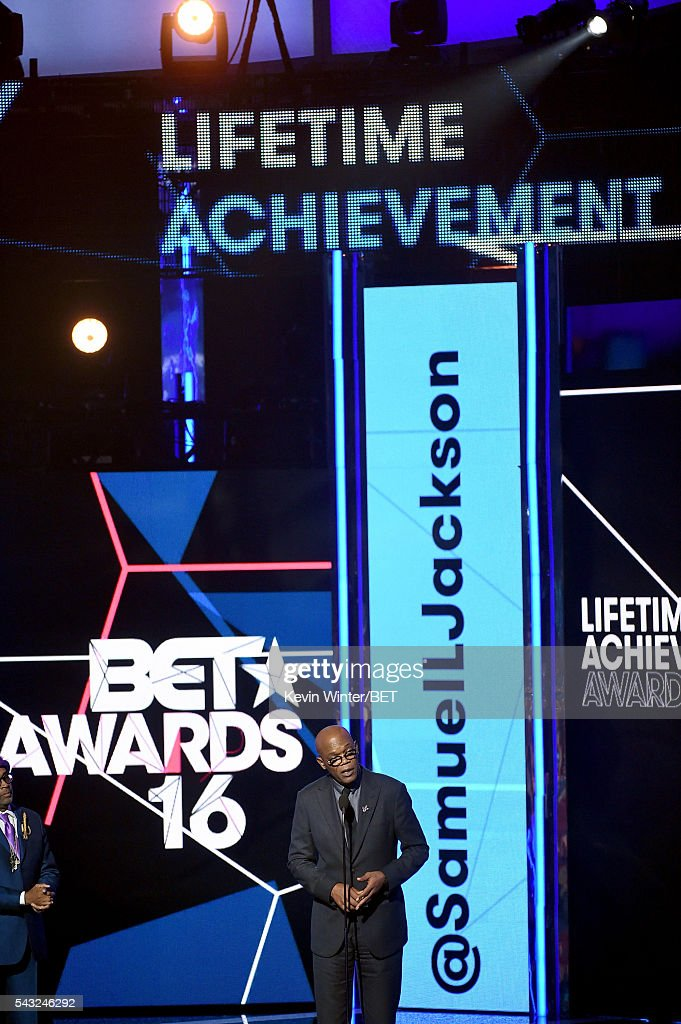 Honoree <a gi-track='captionPersonalityLinkClicked' href=/galleries/search?phrase=Samuel+L.+Jackson&family=editorial&specificpeople=167234 ng-click='$event.stopPropagation()'>Samuel L. Jackson</a> accepts the Lifetime Achievement Award onstage during the 2016 BET Awards at the Microsoft Theater on June 26, 2016 in Los Angeles, California.