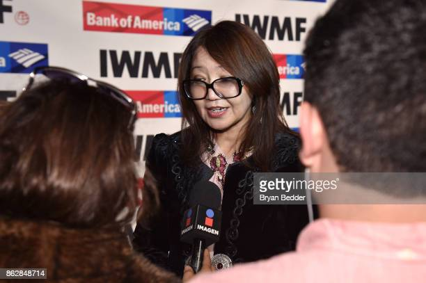 Honoree Sanyia Toiken is interviewed at The International Women's Media Foundation's 28th Annual Courage In Journalism Awards Ceremony Arrivals at...