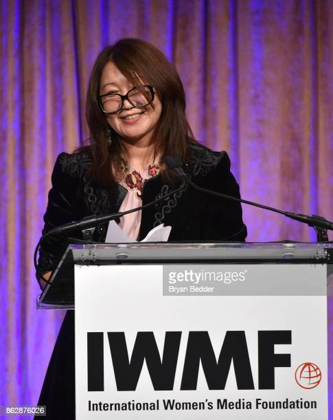 Honoree Sanyia Toiken speaks onstage at The International Women's Media Foundation's 28th Annual Courage In Journalism Awards Ceremony at Cipriani...