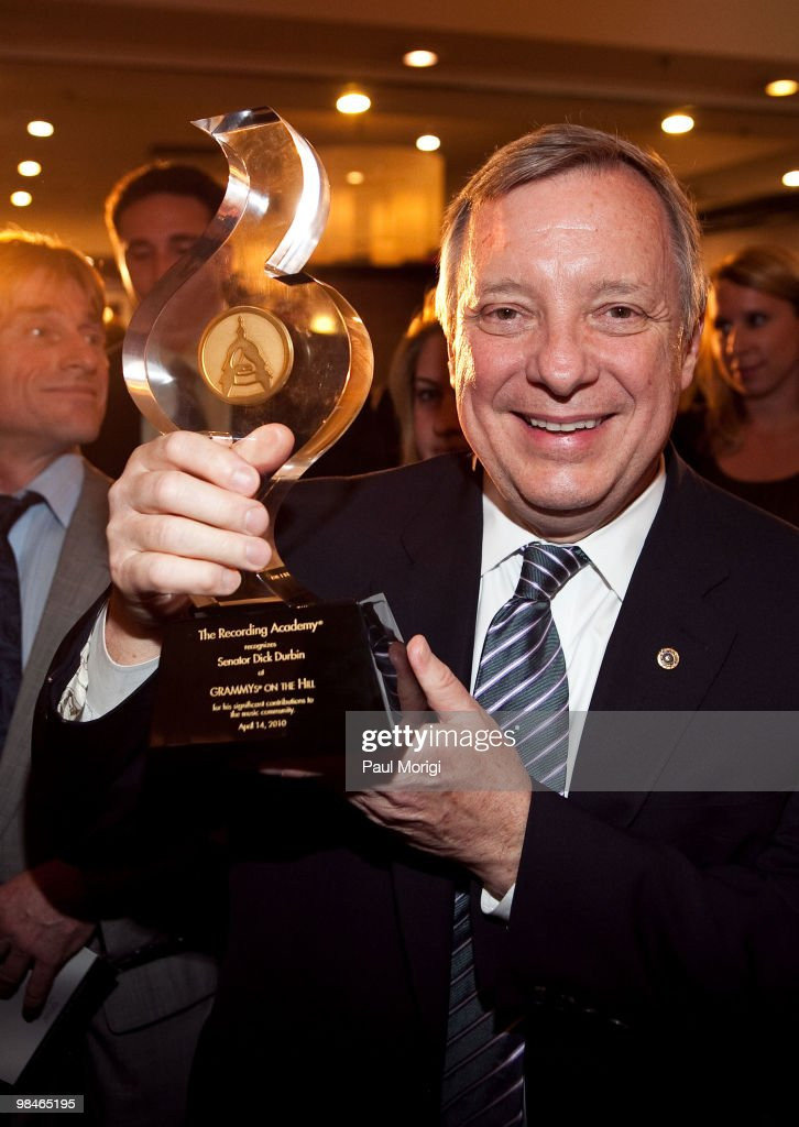 Honoree Sen Dick Durbin with his award at the GRAMMYs on the Hill awards at The Liaison Capitol Hill Hotel on April 14 2010 in Washington DC