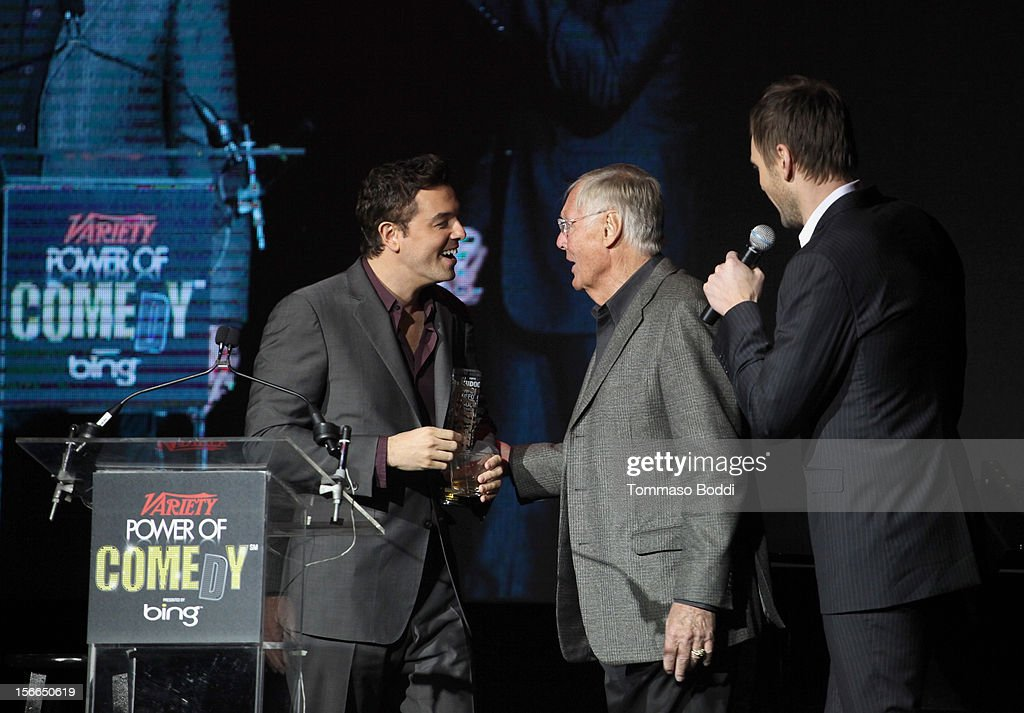Honoree Seth MacFarlane, actor/comdian Adam West and host Joel McHale speak onstage at Variety's 3rd annual Power of Comedy event presented by Bing benefiting the Noreen Fraser Foundation held at Avalon on November 17, 2012 in Hollywood, California.