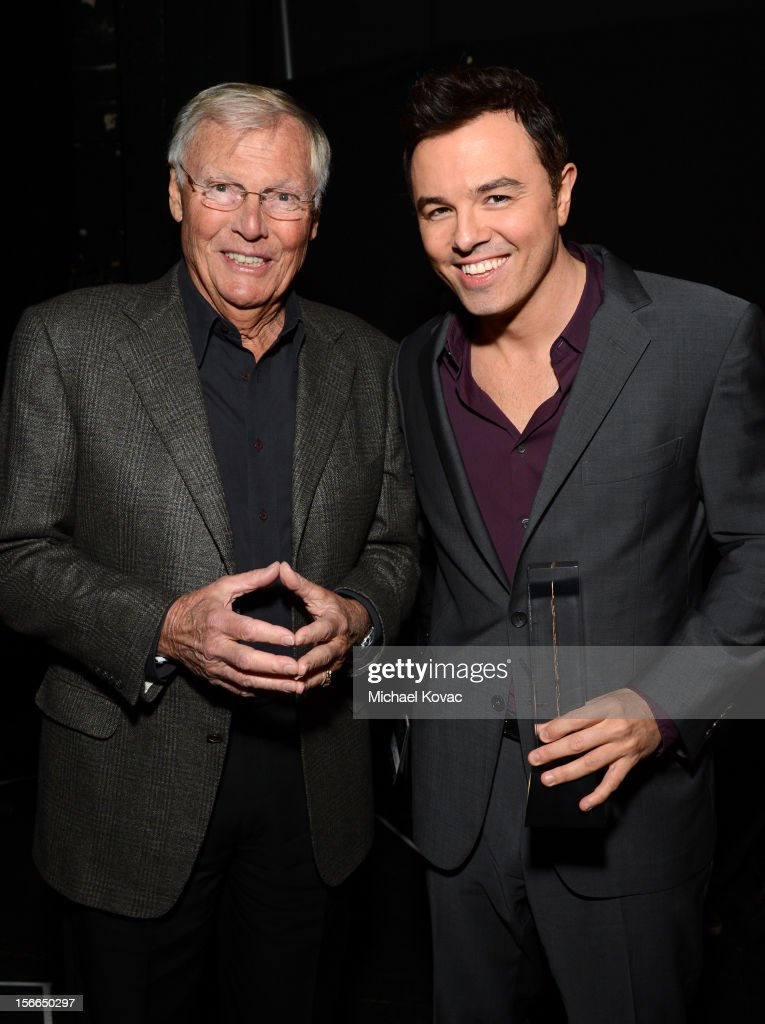 Honoree <a gi-track='captionPersonalityLinkClicked' href=/galleries/search?phrase=Seth+MacFarlane&family=editorial&specificpeople=549856 ng-click='$event.stopPropagation()'>Seth MacFarlane</a> (R) and actor <a gi-track='captionPersonalityLinkClicked' href=/galleries/search?phrase=Adam+West&family=editorial&specificpeople=235413 ng-click='$event.stopPropagation()'>Adam West</a> attend Variety's 3rd annual Power of Comedy event presented by Bing benefiting the Noreen Fraser Foundation held at Avalon on November 17, 2012 in Hollywood, California.