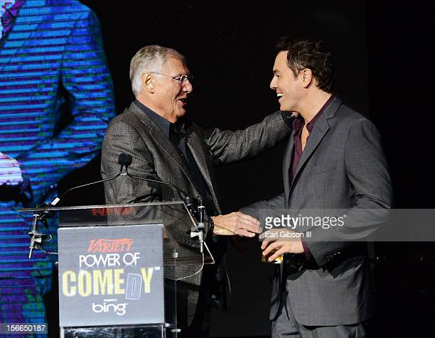 Honoree Seth MacFarlane and actor Adam West onstage at Variety's 3rd annual Power of Comedy event presented by Bing benefiting the Noreen Fraser...