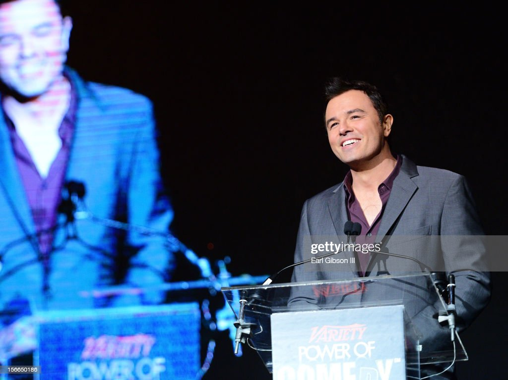 Honoree <a gi-track='captionPersonalityLinkClicked' href=/galleries/search?phrase=Seth+MacFarlane&family=editorial&specificpeople=549856 ng-click='$event.stopPropagation()'>Seth MacFarlane</a> onstage at Variety's 3rd annual Power of Comedy event presented by Bing benefiting the Noreen Fraser Foundation held at Avalon on November 17, 2012 in Hollywood, California.