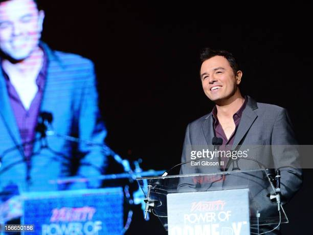 Honoree Seth MacFarlane onstage at Variety's 3rd annual Power of Comedy event presented by Bing benefiting the Noreen Fraser Foundation held at...