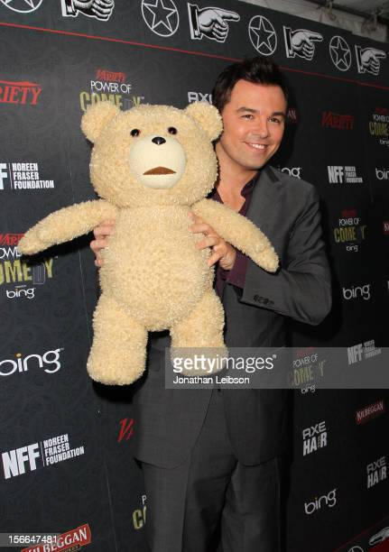 Honoree Seth MacFarlane poses with Ted during arrivals at Variety's 3rd annual Power of Comedy event presented by Bing benefiting the Noreen Fraser...