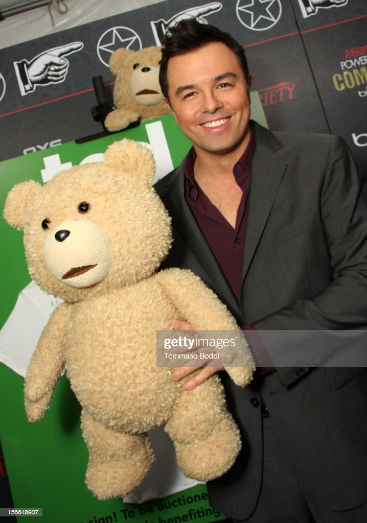 Honoree Seth MacFarlane poses with Ted during arrivals at Variety's 3rd annual Power of Comedy event presented by Bing benefiting the Noreen Fraser Foundation held at Avalon on November 17, 2012 in Hollywood, California. The Ted Blu-ray and DVD will be released on December 11, 2012.