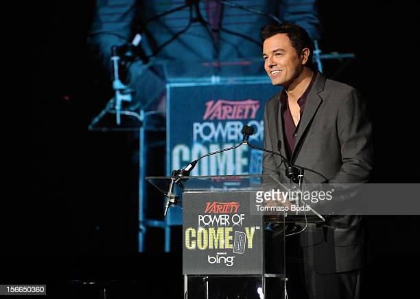 Honoree Seth MacFarlane speaks onstage at Variety's 3rd annual Power of Comedy event presented by Bing benefiting the Noreen Fraser Foundation held...