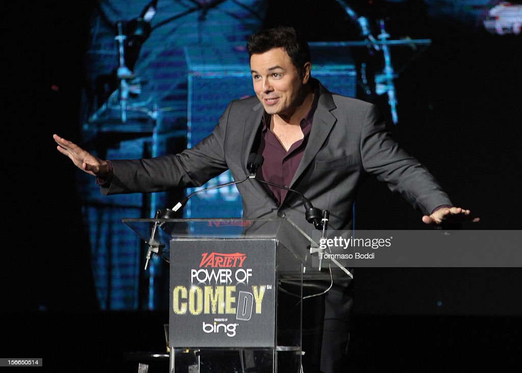 Honoree <a gi-track='captionPersonalityLinkClicked' href=/galleries/search?phrase=Seth+MacFarlane&family=editorial&specificpeople=549856 ng-click='$event.stopPropagation()'>Seth MacFarlane</a> speaks onstage at Variety's 3rd annual Power of Comedy event presented by Bing benefiting the Noreen Fraser Foundation held at Avalon on November 17, 2012 in Hollywood, California.