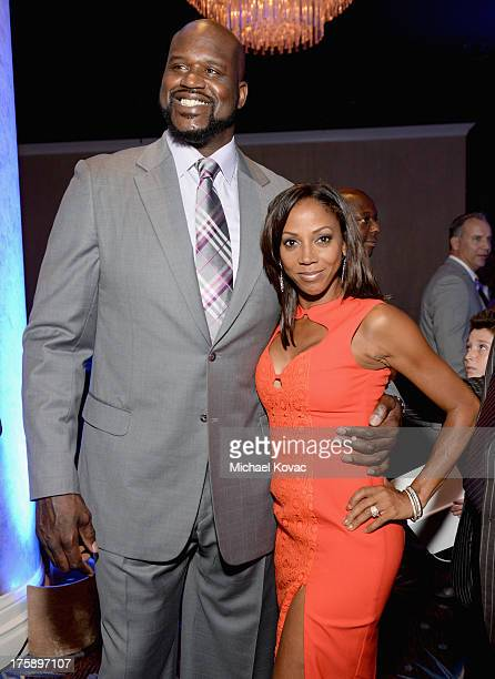 Honoree Shaquille O'Neal and actress Holly Robinson Peete attend the 13th Annual Harold And Carole Pump Foundation Gala Honoring Jamie Foxx Shaquille...