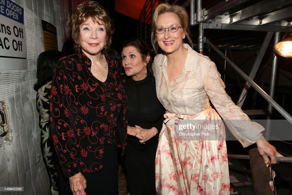 Honoree <a gi-track='captionPersonalityLinkClicked' href=/galleries/search?phrase=Shirley+MacLaine&family=editorial&specificpeople=204788 ng-click='$event.stopPropagation()'>Shirley MacLaine</a> and actresses <a gi-track='captionPersonalityLinkClicked' href=/galleries/search?phrase=Carrie+Fisher&family=editorial&specificpeople=209183 ng-click='$event.stopPropagation()'>Carrie Fisher</a> and <a gi-track='captionPersonalityLinkClicked' href=/galleries/search?phrase=Meryl+Streep&family=editorial&specificpeople=171097 ng-click='$event.stopPropagation()'>Meryl Streep</a> attend the 40th AFI Life Achievement Award honoring <a gi-track='captionPersonalityLinkClicked' href=/galleries/search?phrase=Shirley+MacLaine&family=editorial&specificpeople=204788 ng-click='$event.stopPropagation()'>Shirley MacLaine</a> held at Sony Pictures Studios on June 7, 2012 in Culver City, California. The AFI Life Achievement Award tribute to <a gi-track='captionPersonalityLinkClicked' href=/galleries/search?phrase=Shirley+MacLaine&family=editorial&specificpeople=204788 ng-click='$event.stopPropagation()'>Shirley MacLaine</a> will premiere on TV Land on Saturday, June 24 at 9PM