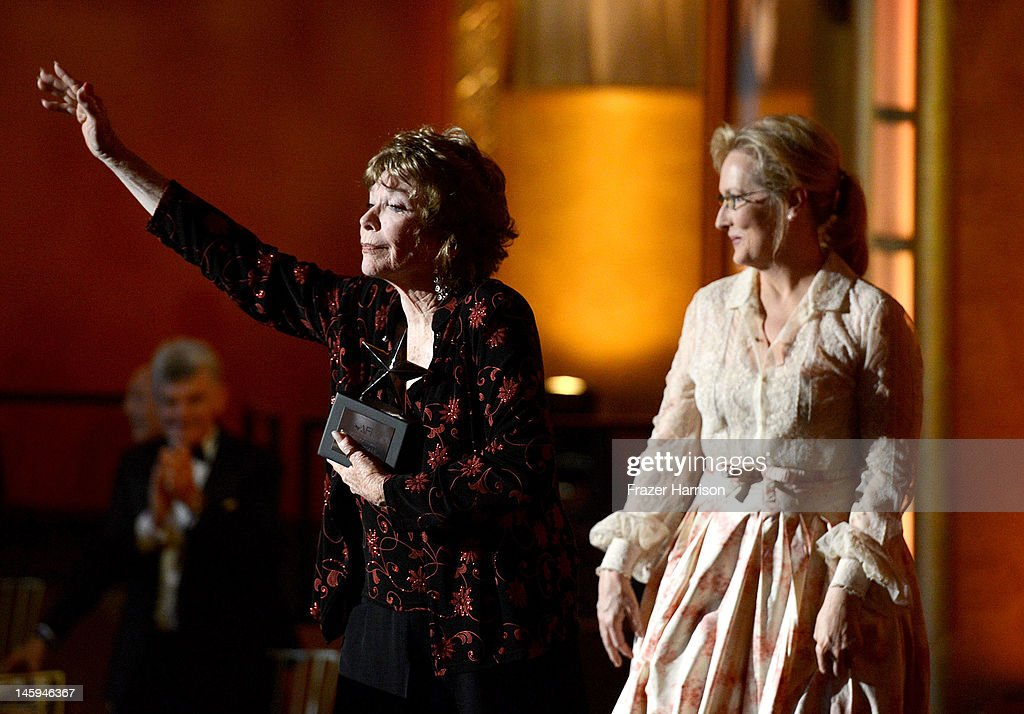 Honoree Shirley MacLaine and Meryl Streep onstage at the 40th AFI Life Achievement Award honoring Shirley MacLaine held at Sony Pictures Studios on June 7, 2012 in Culver City, California. The AFI Life Achievement Award tribute to Shirley MacLaine will premiere on TV Land on Saturday, June 24 at 9PM