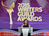 Honoree Shonda Rhimes accepts the WGA Lifetime Achievement Award onstage at the 2015 Writers Guild Awards LA Ceremony at the Hyatt Regency Century...