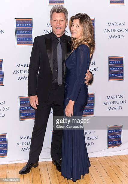 Honoree singer Jon Bon Jovi and wife Dorothea Hurley attend the 2014 Marian Anderson Award at Kimmel Center for the Performing Arts on November 18...