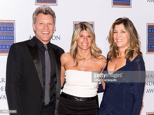 Honoree singer Jon Bon Jovi Board Chair Nina C Tinari and Dorothea Hurley attend the 2014 Marian Anderson Award Gala at Kimmel Center for the...