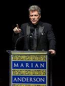 Honoree singer Jon Bon Jovi speaks during the 2014 Marian Anderson Award Gala honoring Jon Bon Jovi at Kimmel Center for the Performing Arts on...
