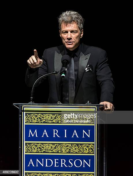 Honoree singer Jon Bon Jovi speaks during the 2014 Marian Anderson Award Gala honoring Jon Bon Jovi at Kimmel Center for the Performing Arts on...