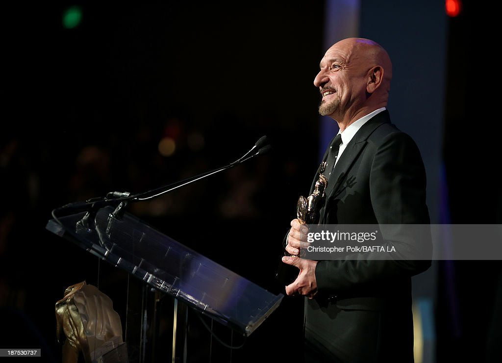 Honoree <a gi-track='captionPersonalityLinkClicked' href=/galleries/search?phrase=Sir+Ben+Kingsley&family=editorial&specificpeople=699878 ng-click='$event.stopPropagation()'>Sir Ben Kingsley</a>, recipient of the Albert R. Broccoli Britannia Award for Worldwide Contribution to Entertainment, speaks onstage during the 2013 BAFTA LA Jaguar Britannia Awards presented by BBC America at The Beverly Hilton Hotel on November 9, 2013 in Beverly Hills, California.