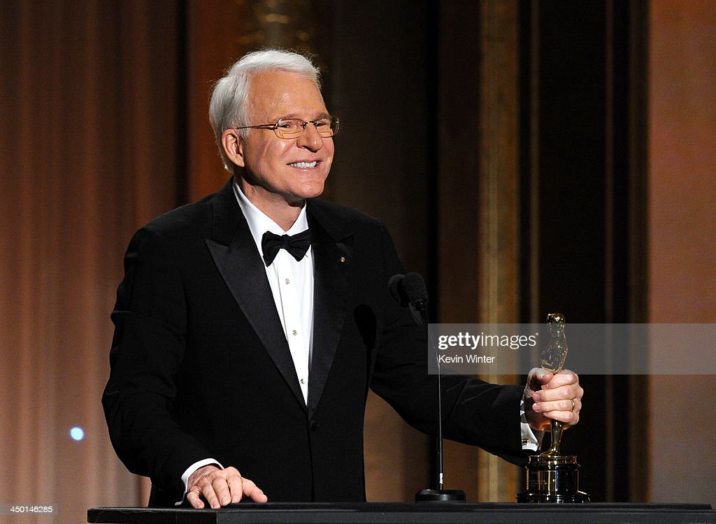 Honoree <a gi-track='captionPersonalityLinkClicked' href=/galleries/search?phrase=Steve+Martin+-+Comedian&family=editorial&specificpeople=196544 ng-click='$event.stopPropagation()'>Steve Martin</a> accepts honorary award onstage during the Academy of Motion Picture Arts and Sciences' Governors Awards at The Ray Dolby Ballroom at Hollywood & Highland Center on November 16, 2013 in Hollywood, California.